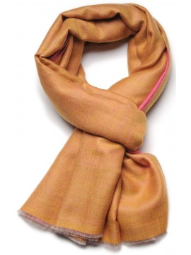 REVA PINK/YELLOW, Handwoven cashmere pashmina Stole dual shaded