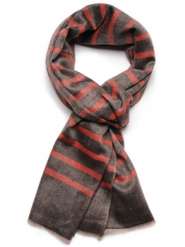 ARMOR RED, real pashmina 100% cashmere with breton stripes