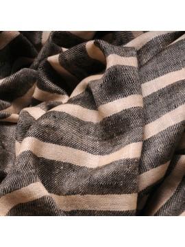 ARMOR GREY, real pashmina 100% cashmere with breton stripes