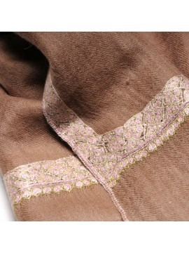 ASHA BROWN, real pashmina 100% cashmere with handmade embroideries