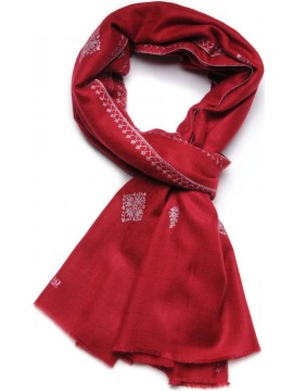 SARA RED, real pashmina 100% cashmere with handmade embroideries
