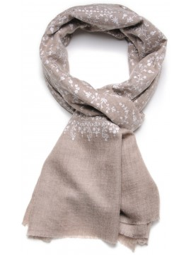 BIANCA BEIGE, real pashmina 100% cashmere with handmade embroideries