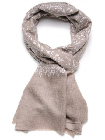 BIANCA BEIGE, real pashmina 100% cashmere with full handmade embroideries