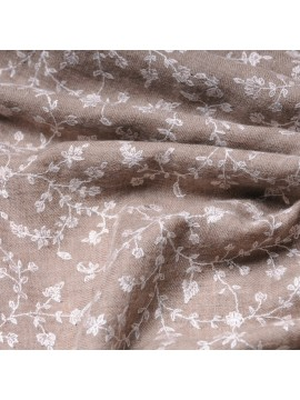 JULIA BEIGE, real pashmina 100% cashmere natural with full handmade embroideries