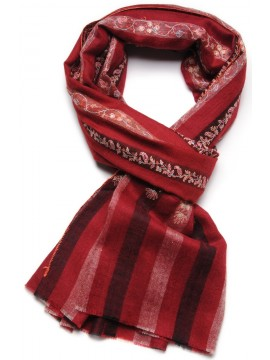 EUGENIE RED, real pashmina 100% cashmere with handmade embroideries