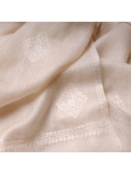 MARIA IVORY, Real embroidered pashmina shawl 100% cashmere