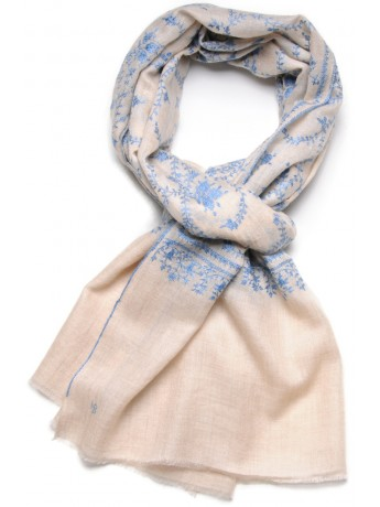 JULIA IVORY, real pashmina 100% cashmere natural with full handmade embroideries