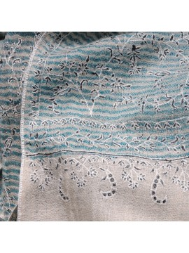 ISIS IKAT GREEN, real pashmina 100% cashmere with handmade embroideries