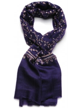 JULIA NAVY, real pashmina 100% cashmere natural with full handmade embroideries