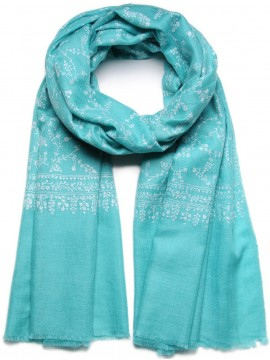 LARA TURQUOISE, real embroidered pashmina shawl 100% cashmere