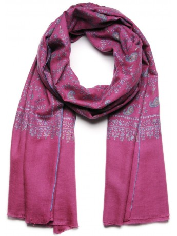 JANET PINK, real pashmina shawl 100% cashmere with handmade embroideries