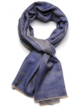 Genuine pashmina 100% cashmere reversible denim blue / natural beige