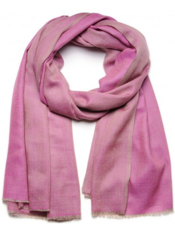 Genuine pashmina 100% cashmere reversible Pink / natural beige Big size