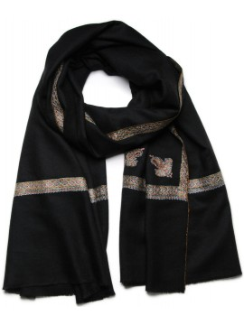 ASHLEY NOIR, châle véritable pashmina 100% cachemire brodé main