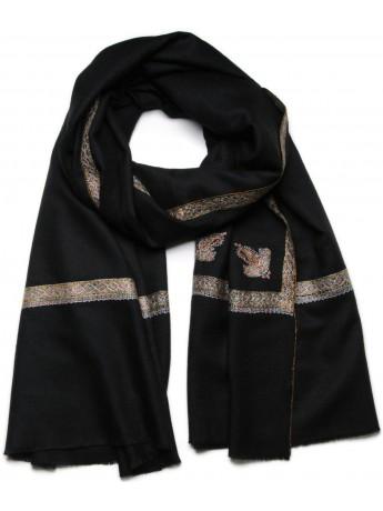 ASHLEY BLACK, Real embroidered pashmina shawl 100% cashmere