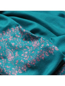 PATTY GREEN, real pashmina 100% cashmere with handmade embroideries