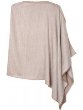 PABLO BEIGE, poncho reversibile in vera pashmina 100% cashmere