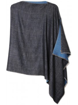 Handwoven cashmere pashmina Poncho PABLO BLUE