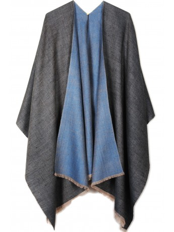 Handwoven cashmere pashmina Cape PAOLA BLUE