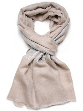 PALLA BEIGE, real pashmina 100% cashmere with handmade embroideries
