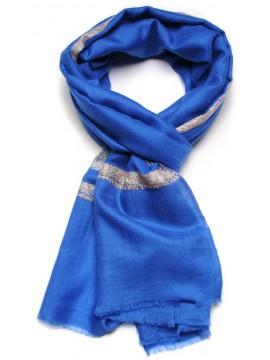 ASHA BLUE, real pashmina 100% cashmere with handmade embroideries
