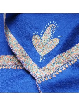 ASHA BLUE, real pashmina 100% cashmere with handmade embroideries