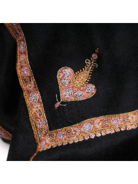 ASHA NOIR, étole véritable pashmina 100% cachemire brodé main