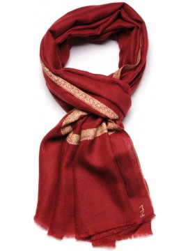 ASHA RED, real pashmina 100% cashmere with handmade embroideries