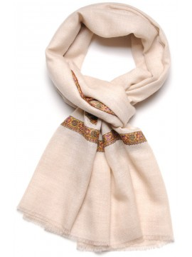 ASHA CREAM, real pashmina 100% cashmere with handmade embroideries