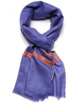 ASHA DENIM, real pashmina 100% cashmere with handmade embroideries