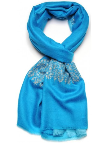 PATTY BLUE, real pashmina 100% cashmere with handmade embroideries