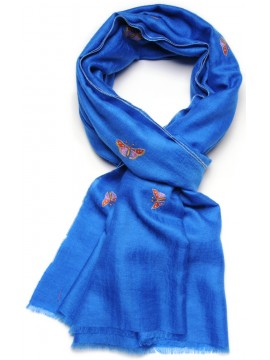 FARFALLA BLUE, real pashmina 100% cashmere with handmade embroideries