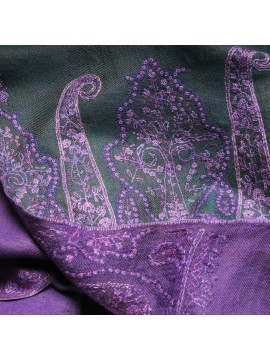 MOIRA GREEN, real pashmina 100% cashmere with handmade embroideries