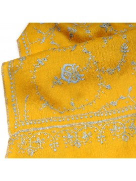 JULIET MUSTARD, real pashmina 100% cashmere natural with full handmade embroideries