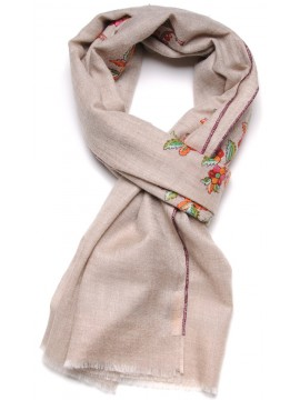 FLORA BEIGE, real pashmina 100% cashmere natural with full handmade embroideries