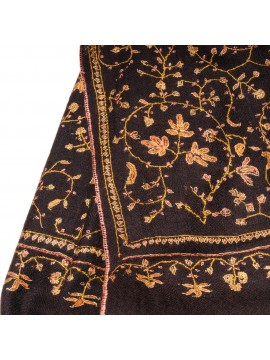 JULIA EBONY, real pashmina 100% cashmere with full handmade embroideries