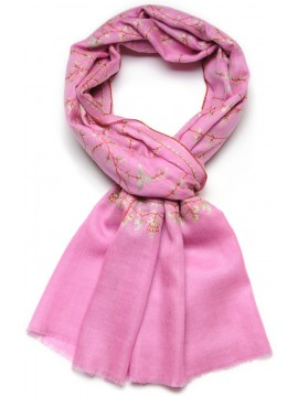 JULIA PINK, real pashmina 100% cashmere natural with full handmade embroideries