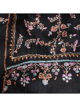 JULIA BLACK, real pashmina 100% cashmere natural with full handmade embroideries