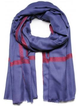 ASHLEY BLUE, Real embroidered pashmina shawl 100% cashmere