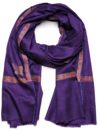ASHLEY AMETHYST, Real embroidered pashmina shawl 100% cashmere