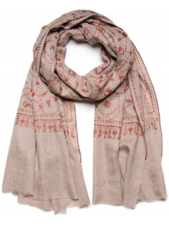 JANE BEIGE, Real embroidered pashmina shawl 100% cashmere