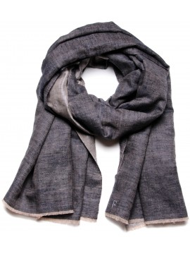 ZARI BLUE AND SILVER, Handwoven cashmere pashmina Shawl dual shaded