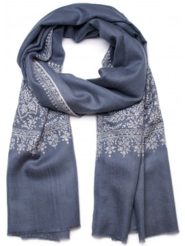 MAE GREY, Real embroidered pashmina shawl 100% cashmere