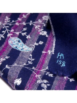 ISIS BLUE, real pashmina 100% cashmere with handmade embroideries