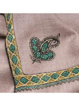 ASHA GREEN, real pashmina 100% cashmere with handmade embroideries