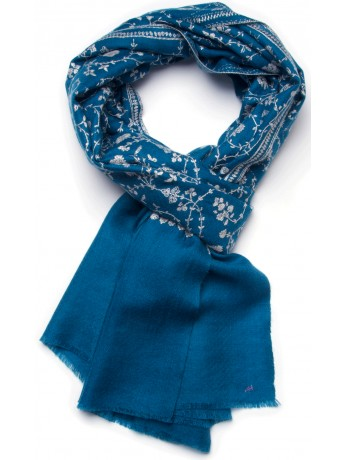 BIANCA BLUE, real pashmina 100% cashmere with handmade embroideries