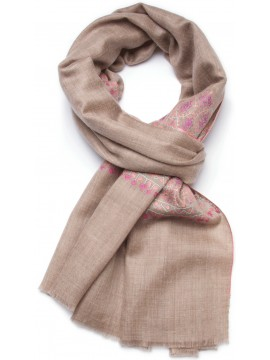 PALLA PINK, real pashmina 100% cashmere with handmade embroideries