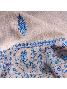 PALLA BLUE, real pashmina 100% cashmere with handmade embroideries