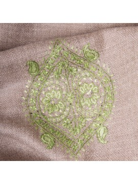SARA GREEN, real pashmina 100% cashmere with handmade embroideries