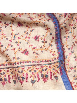 JUDY CREAMY, real pashmina 100% cashmere with handmade embroideries